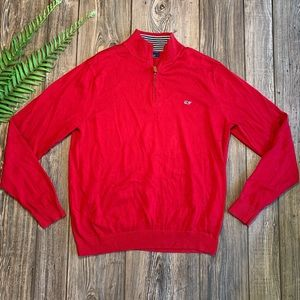 Vineyard Vines 1/4 Zip Up Red Sweater Size Large